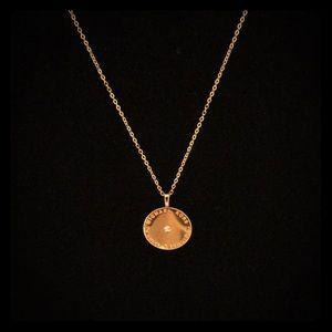 Michael Kors Gold Tone Logo Disc Pendant Necklace